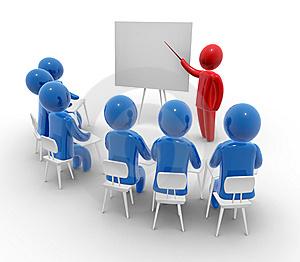 imagen de un profesor impartiendo clases a un grupo de personas